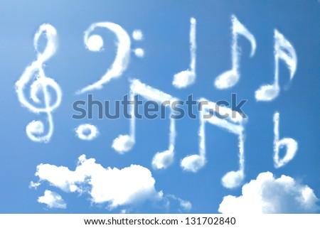 Music note cloud shape - stock photo