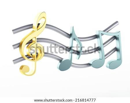 music note 3d illustration. Music composition concept. Isolated on white background