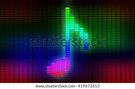 Music note on equalizer on black background.