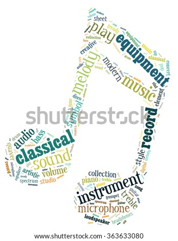 Music note, word cloud concept on white background.  - stock photo
