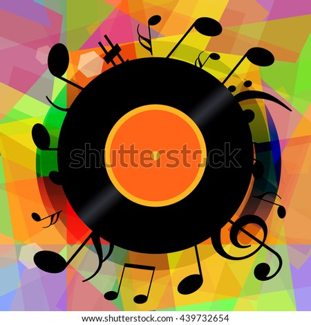 Music notes and vinyl disc on bright colorful abstract background - stock photo