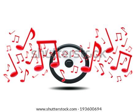 Music notes around audio speakers. Isolated on white background - stock photo