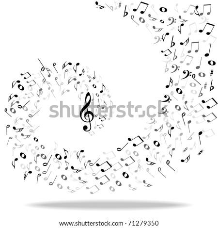 Music notes background - stock photo