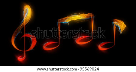 Music notes created from light streaks.