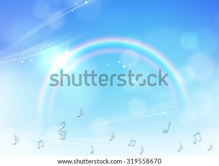music notes flying in the rainbow sky with sunlight. Idea of happy, colorful, modern,  creative, musical, graphic, music, melody concept template background wallpaper - stock photo