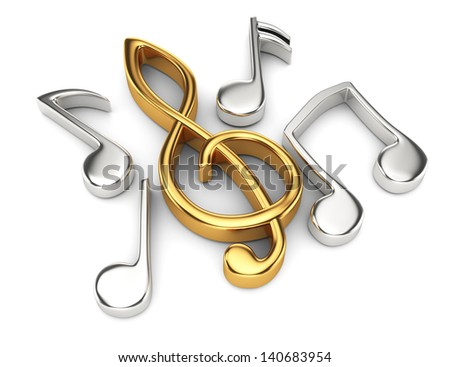 music notes isolated on white. 3d rendered image