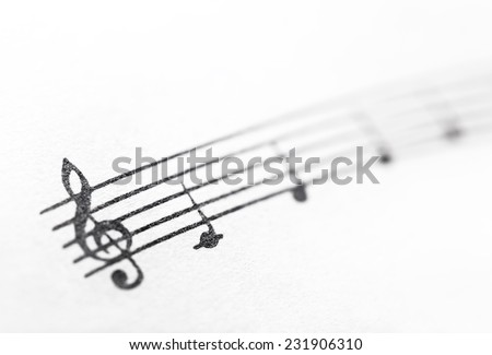 Music notes on paper. Fragment of the C major gamut. - stock photo
