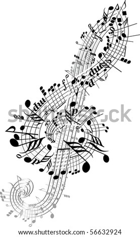 Music notes twisted into Clef. raster - stock photo