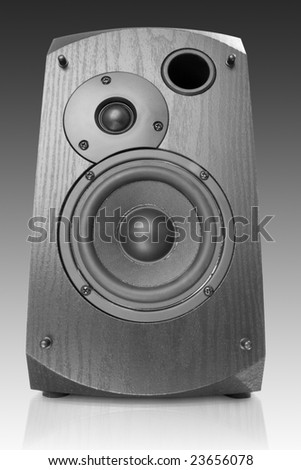 music object. black computer speaker - stock photo