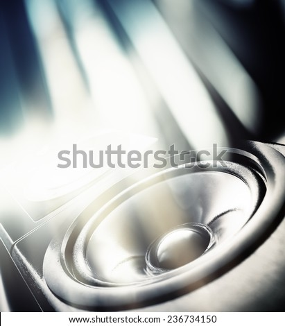 Music party background. Sound speaker and abstract lights. - stock photo