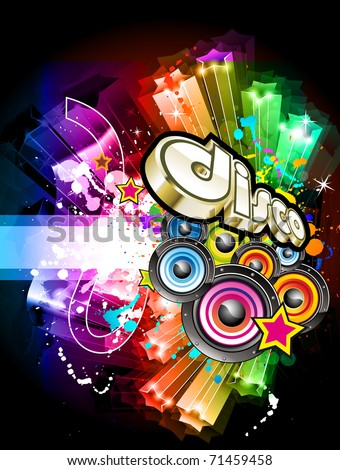 Music Party Disco Flyer with Exceptional Glow of lights