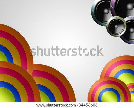 Music party Illustration, speakers with colors shapes.
