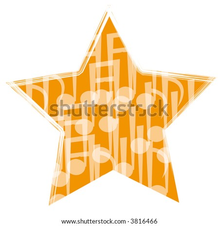music party symbol. star and note