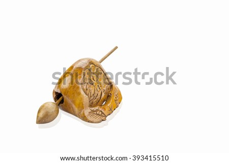Music percussion instrument for buddhist recitation,clipping path - stock photo