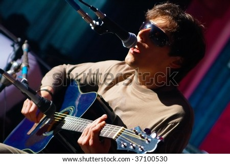 music performer on scene - stock photo