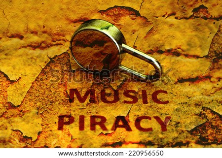 Music piracy grunge concept - stock photo