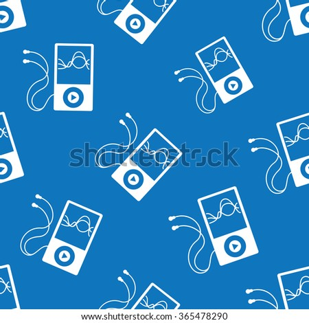 Music player seamless pattern - stock photo