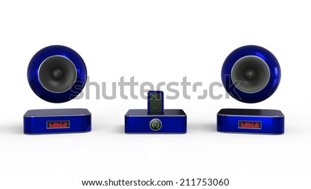 Music player with phone on a white background - stock photo