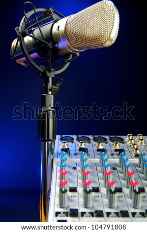 Music Production, Audio Mixer and Vocal Mic - stock photo
