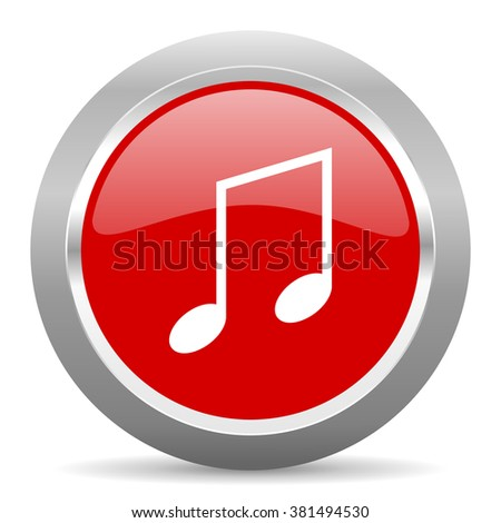 music red chrome web circle glossy icon