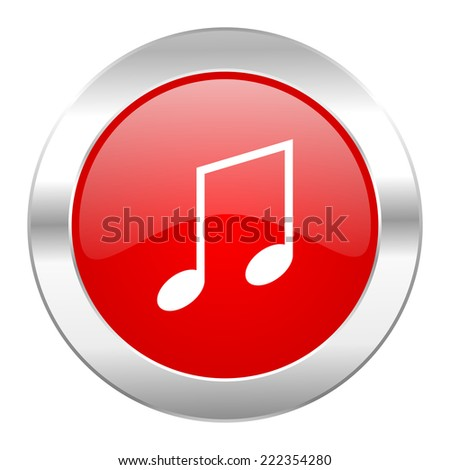 music red circle chrome web icon isolated