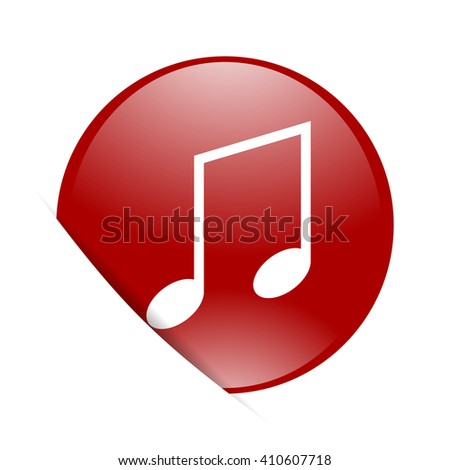 music red circle glossy web icon