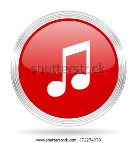 music red glossy circle modern web icon on white background