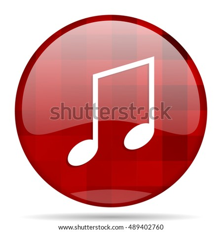 music red round glossy modern design web icon