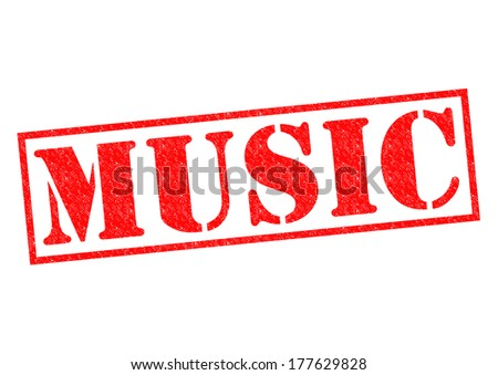 MUSIC red Rubber Stamp over a white background. - stock photo