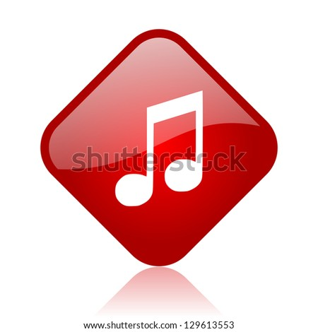 music red square glossy web icon
