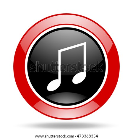 music round glossy red and black web icon