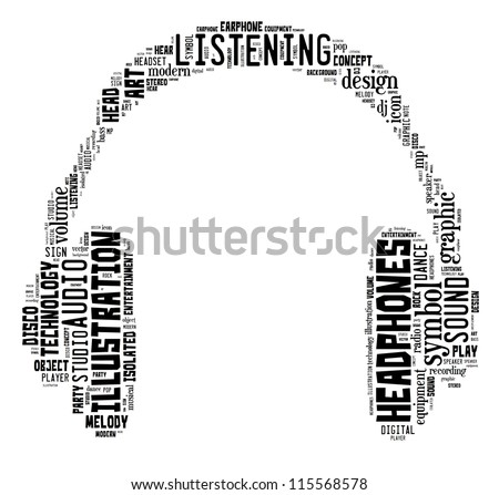 music & sound info-text graphics composed in headphone shape concept on white background - stock photo
