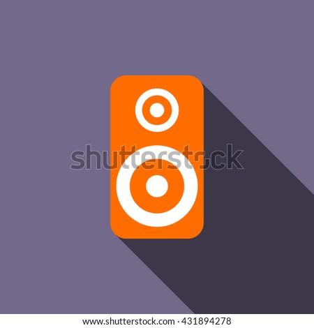 Music speaker icon, flat style - stock photo