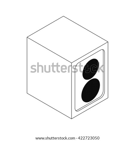 Music speaker icon, isometric 3d style - stock photo