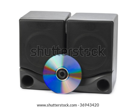 Music speakers and cd isolated on white background