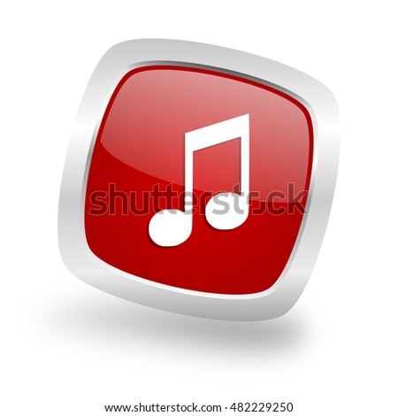 music square glossy red chrome silver metallic web icon