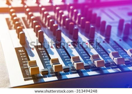 Music Studio & audio mixing console - stock photo