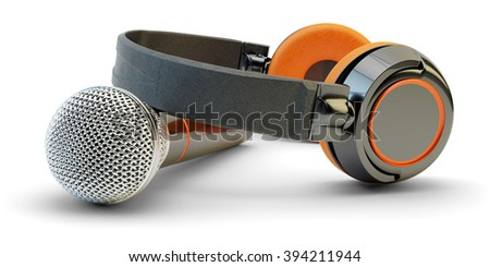 Music studio audio recording and live stream broadcasting concept, dj equipment, microphone and headphones isolated on white background - stock photo