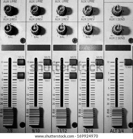 Music studio, sound adjusting record equipment. - stock photo