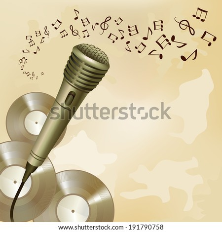 Music symbols and vinyl disks background microphone musical equipment print  illustration - stock photo