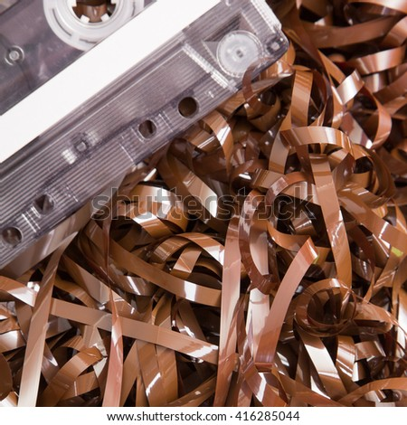 music tape texture for background - selective focus - stock photo