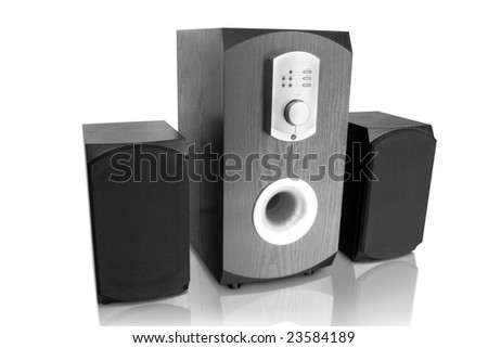 music. three speakers isolated on white background - stock photo