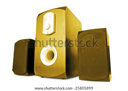 music. three stylish speakers isolated on white background - stock photo