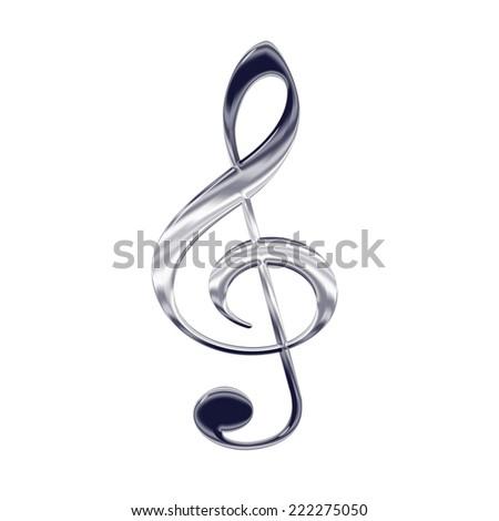 Music treble clef silver metal icon - stock photo