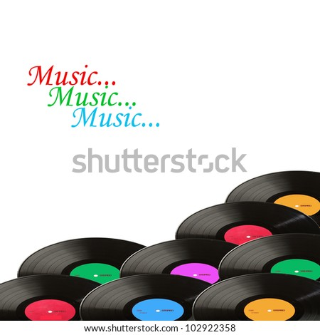 Music. Vinyl record LP discs isolated on white. Your text. - stock photo