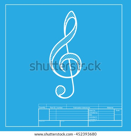 Music violin clef sign. G-clef. Treble clef. White section of icon on blueprint template. - stock photo