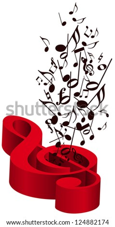 Music with red treble clef - stock photo