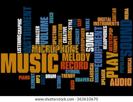 Music, word cloud concept on black background.  - stock photo
