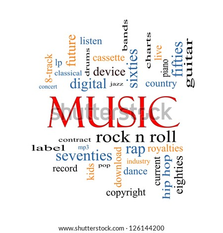 Music Word Cloud Concept with great terms such as rock n roll, rap, pop, download, lp and more. - stock photo