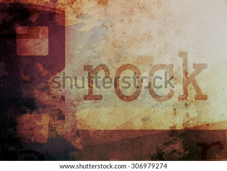 music word rock on film strip background - stock photo